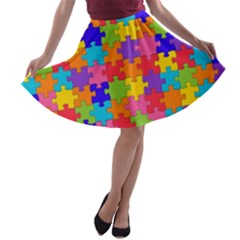Funny Colorful Jigsaw Puzzle A Line Skater Skirt