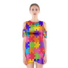 Funny Colorful Jigsaw Puzzle Cutout Shoulder Dress
