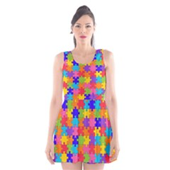 Funny Colorful Jigsaw Puzzle Scoop Neck Skater Dress