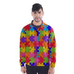 Funny Colorful Jigsaw Puzzle Wind Breaker (men)