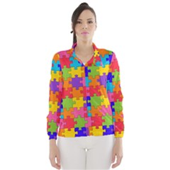 Funny Colorful Jigsaw Puzzle Wind Breaker (women)