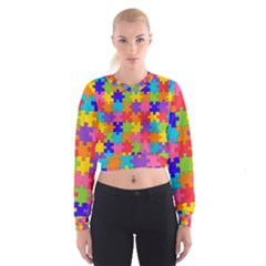 Funny Colorful Jigsaw Puzzle Women s Cropped Sweatshirt
