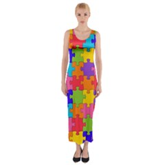 Funny Colorful Jigsaw Puzzle Fitted Maxi Dress