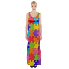 Funny Colorful Jigsaw Puzzle Maxi Thigh Split Dress