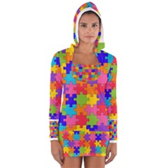 Funny Colorful Jigsaw Puzzle Women s Long Sleeve Hooded T Shirt