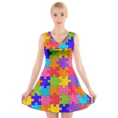 Funny Colorful Jigsaw Puzzle V Neck Sleeveless Skater Dress