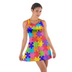Funny Colorful Jigsaw Puzzle Racerback Dresses