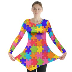 Funny Colorful Jigsaw Puzzle Long Sleeve Tunic