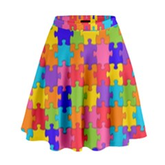 Funny Colorful Jigsaw Puzzle High Waist Skirt
