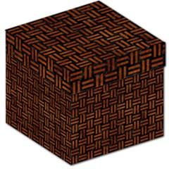 Woven1 Black Marble & Brown Burl Wood Storage Stool 12