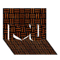 Woven1 Black Marble & Brown Burl Wood I Love You 3d Greeting Card (7x5)
