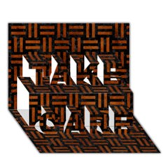 Woven1 Black Marble & Brown Burl Wood Take Care 3d Greeting Card (7x5)