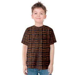 Woven1 Black Marble & Brown Burl Wood Kids  Cotton Tee