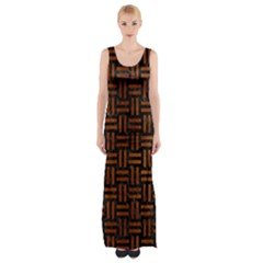 Woven1 Black Marble & Brown Burl Wood Maxi Thigh Split Dress