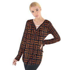 WOV1 BK MARBLE BURL Women s Tie Up Tee