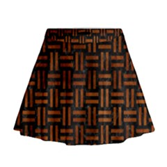 Woven1 Black Marble & Brown Burl Wood Mini Flare Skirt