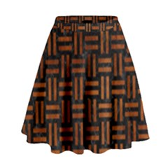 WOV1 BK MARBLE BURL High Waist Skirt