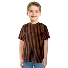 Skin4 Black Marble & Brown Burl Wood (r) Kids  Sport Mesh Tee