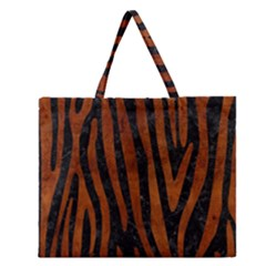 SKN4 BK MARBLE BURL (R) Zipper Large Tote Bag