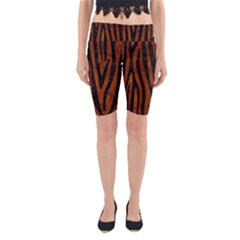 Skin4 Black Marble & Brown Burl Wood Yoga Cropped Leggings