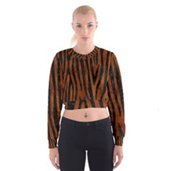 Skin4 Black Marble & Brown Burl Wood Cropped Sweatshirt