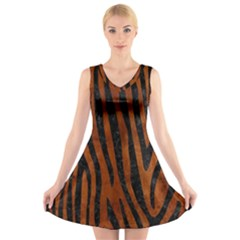 Skin4 Black Marble & Brown Burl Wood V Neck Sleeveless Dress