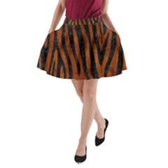Skin4 Black Marble & Brown Burl Wood A Line Pocket Skirt