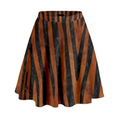 Skin4 Black Marble & Brown Burl Wood High Waist Skirt