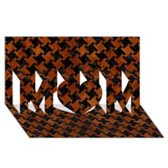 Houndstooth2 Black Marble & Brown Burl Wood Mom 3d Greeting Card (8x4)