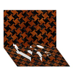 Houndstooth2 Black Marble & Brown Burl Wood Love Bottom 3d Greeting Card (7x5)