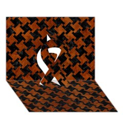 Houndstooth2 Black Marble & Brown Burl Wood Ribbon 3d Greeting Card (7x5)