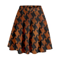 Houndstooth2 Black Marble & Brown Burl Wood High Waist Skirt