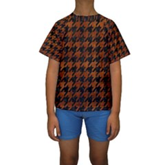 Houndstooth1 Black Marble & Brown Burl Wood Kids  Short Sleeve Swimwear