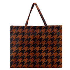 Houndstooth1 Black Marble & Brown Burl Wood Zipper Large Tote Bag