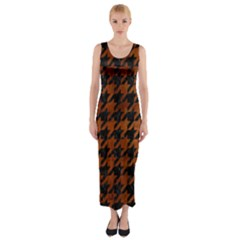 Houndstooth1 Black Marble & Brown Burl Wood Fitted Maxi Dress