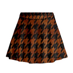 Houndstooth1 Black Marble & Brown Burl Wood Mini Flare Skirt