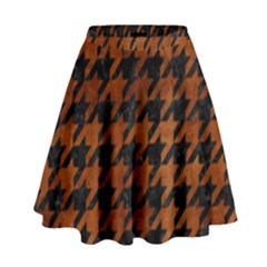 Houndstooth1 Black Marble & Brown Burl Wood High Waist Skirt