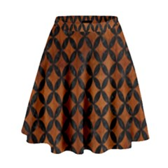 Circles3 Black Marble & Brown Burl Wood (r) High Waist Skirt