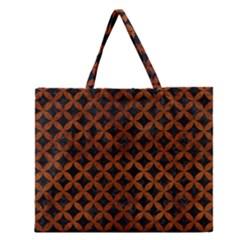 CIR3 BK MARBLE BURL Zipper Large Tote Bag