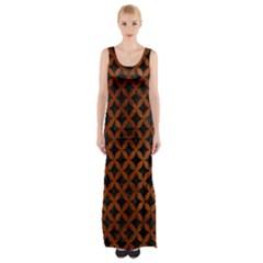 CIR3 BK MARBLE BURL Maxi Thigh Split Dress