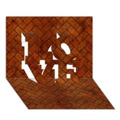 Brick2 Black Marble & Brown Burl Wood (r) Love 3d Greeting Card (7x5)