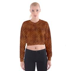 Brick2 Black Marble & Brown Burl Wood (r) Cropped Sweatshirt