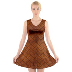BRK2 BK MARBLE BURL (R) V-Neck Sleeveless Skater Dress