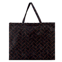 Brick2 Black Marble & Brown Burl Wood Zipper Large Tote Bag