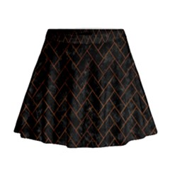 Brick2 Black Marble & Brown Burl Wood Mini Flare Skirt