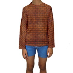 Brick1 Black Marble & Brown Burl Wood (r) Kids  Long Sleeve Swimwear