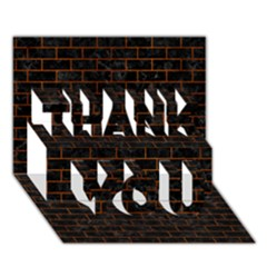 Brick1 Black Marble & Brown Burl Wood Thank You 3d Greeting Card (7x5)
