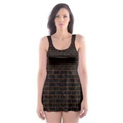 BRK1 BK MARBLE BURL Skater Dress Swimsuit