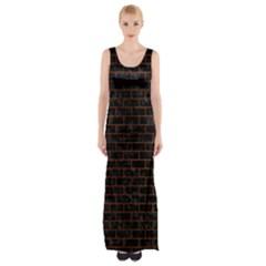 Brick1 Black Marble & Brown Burl Wood Maxi Thigh Split Dress