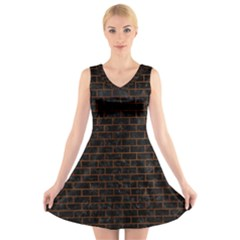Brick1 Black Marble & Brown Burl Wood V Neck Sleeveless Dress